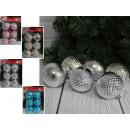 wholesale Home & Living: Checked baubles (4 colors) 7 cm - set of 6 pieces