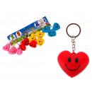 Porte-clés, pendentif coeur avec un smiley 5x4 cm