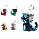 Kitten key ring with sequins 8x7 cm - 1 piece