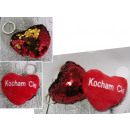 Keychain mascot heart love you overturned sequin