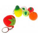 Großhandel Schlüsselanhänger: Schaum Schlüsselanhänger Mix Obst 5 cm