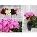 grossiste Maison et habitat: Bouquet de roses pastel 9 fleurs (hauteur 35 cm, f