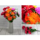 Großhandel Kunstblumen: Künstlicher Strauß 50 cm, 7 Blüten (8 cm), Farbmis