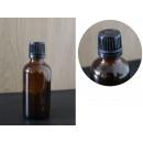 Bottiglia di vetro da 50 ml marrone + tappo nero