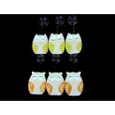 Wooden owl decoration set of 6 pieces on the pictu