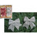 Karácsonyi dekoráció íjak flitterekkel 12x12 cm -