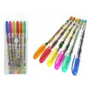wholesale Gifts & Stationery: Colorful gel pens with brocade 14 cm - comp