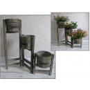 wholesale Plants & Pots: Dr. wooden  flowerbed 3 garden pots 58x15x55 cm