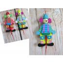 Figurine en bois, marionetka mélange clown 16 cm
