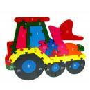 Fa puzzle, blokkok, puzzle, traktor 25x18