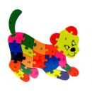 Fa puzzle, blokkok, tigris puzzle 20x23