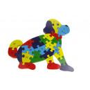 Fa puzzle, építőkockák, rejtvények kutya 21x24 cm