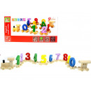 Wooden toy of an educational train with letters w