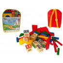 nagyker Játékok: Fa blokkok a hátizsákban 24x18x6 cm