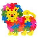Wooden puzzle lion, lion cub 20x22 cm