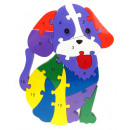 nagyker Játékok:Fa kutya puzzle 24x16 cm