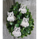 Wooden white owls 5x5 cm set of 4 pieces