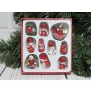 nagyker Otthon és dekoráció: Fa karácsonyfa díszek 10 elem egy kartonban