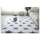 Tapis 50x80 cm blanc et bleu avec étoiles