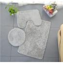 Tappeto da bagno a 3 elementi, grigio pelliccia