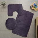 Tappeti da bagno a 3 elementi, pelliccia, erica