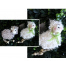 wholesale Decoration: Figurine lamb with a pendant in yarn 9x6 cm - 1