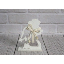 Statuina in legno Angelo di Natale 15x11 cm bianco