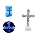 Figurine led croix 12x5x3.5 cm - bleu