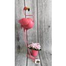 Metal garden figurine flamingo with 53 cm shield