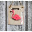 Flamingos décoratif 13x10 cm planche avec thermomè