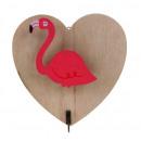 Flamingo Herz dekorativer Clip 15,5x16 cm