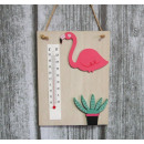 wholesale Weather Stations: Flamingo decorative thermometer 20x15 cm