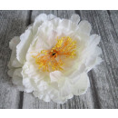 wholesale Artificial Flowers: Flower head made of peony, 20 cm large - white