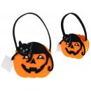 wholesale Organisers & Storage: Halloween basket, basket of felt pumpkin with cat