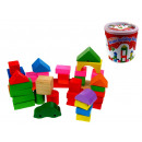 Wooden blocks mix shapes in a bucket 18x17 cm