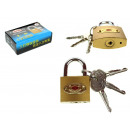wholesale Ironmongery: Padlock + 3 keys 5x3x1,4 cm
