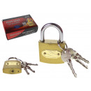 wholesale Ironmongery: Padlock + 3 keys 6x3,5x1,2 cm