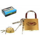 wholesale Ironmongery: Padlock + 3 keys, 7,5x4,5x1,9 cm