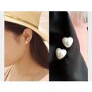 Boucles d'oreilles coeur perles - 1 paire (1 c
