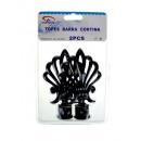 wholesale Curtains & Drapery: Curtain rod ends black crowns 12 cm set 2