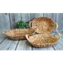 wholesale Organisers & Storage: Baskets woven from oval grass with ears a set of 3