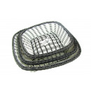 Rattan baskets white and gray set 3 pieces (15