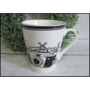 groothandel Koppen & bekers: Keramische mok  zwart en wit retro 10x8,5 cm