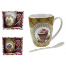 Großhandel Tassen & Becher: Eine Tasse Keramik Muffin mit einem Teelöffel in e
