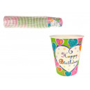 Bicchieri di carta Happy Birthday color set 50 s