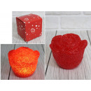 Led rose flower shining red 7.5x6 cm - 1 piece