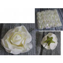 Flower artificial rose, rosebud with wire white 11