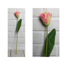 Mesterséges tulipán virág, rózsaszín szár (47x6 cm