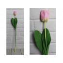 Mesterséges tulipán virág, rózsaszín szár (64x6 cm