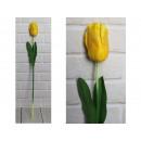 Fiore di tulipano artificiale, gambo giallo (68x9